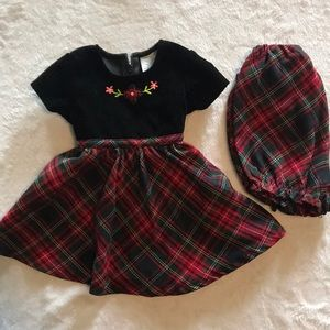 Plaid and black infant dress with undershorts